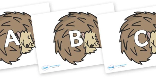 A-Z Alphabet on Hedgehogs - A-Z, A4, display, Alphabet frieze, Display letters, Letter posters, A-Z letters, Alphabet flashcards