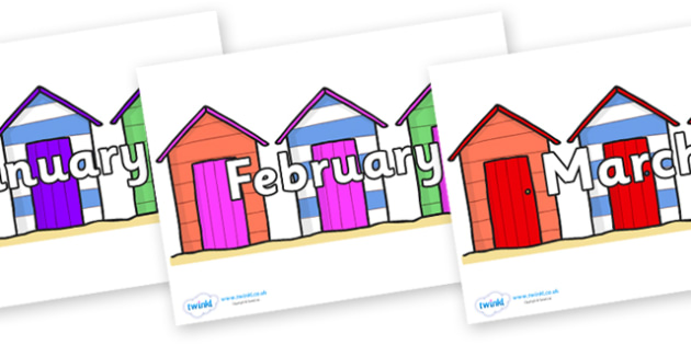 Months of the Year on Beach Huts - Months of the Year, Months poster, Months display, display, poster, frieze, Months, month, January, February, March, April, May, June, July, August, September