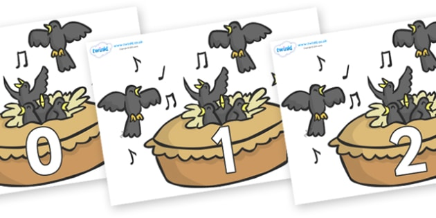 Numbers 0-100 on Blackbirds in a Pie - 0-100, foundation stage numeracy, Number recognition, Number flashcards, counting, number frieze, Display numbers, number posters