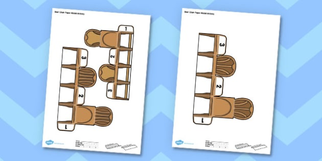 3D Bear Chair Paper Model Activity - 3d, bear, chair, paper model