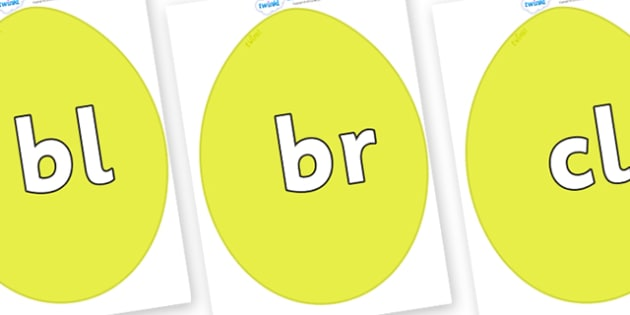 Initial Letter Blends on Golden Eggs - Initial Letters, initial letter, letter blend, letter blends, consonant, consonants, digraph, trigraph, literacy, alphabet, letters, foundation stage literacy