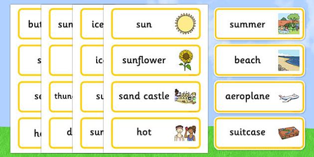 Summer Word Cards - Summer, Word cards, Word Card, flashcard, flashcards, season, holiday, holidays, beach, sun, flowers, ice cream, sea, seaside