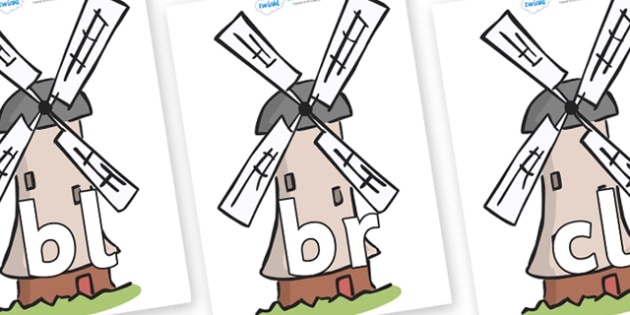 Initial Letter Blends on Windmills - Initial Letters, initial letter, letter blend, letter blends, consonant, consonants, digraph, trigraph, literacy, alphabet, letters, foundation stage literacy
