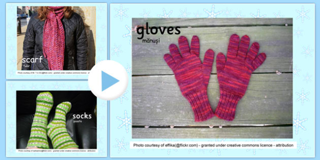 Winter Clothes Photo Display PowerPoint Romanian Translation - romanian, winter, clothes, photo, display, powerpoint