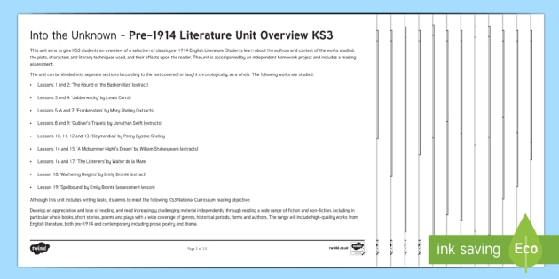 Into The Unknown Unit Overview - Into The Unknown, pre-1914 literature, Frankenstein, The Hound of the Baskervilles, Wuthering Height