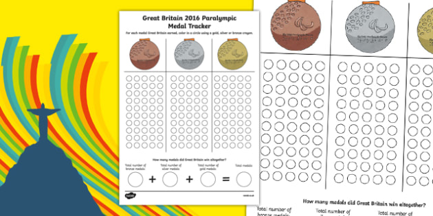 Rio 2016 Paralympic Games Medal Tracker Activity Sheet, worksheet