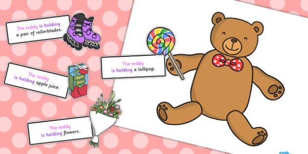 Teddy Holding Sentence Activity - sentence, activity, teddy