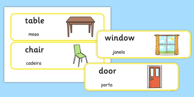 Classroom Furniture labels Portuguese Translation - portuguese, classroom, furniture, labels