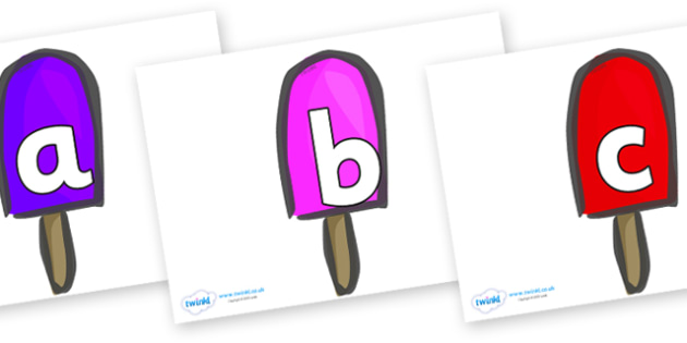 Phoneme Set on Ice Lollies - Phoneme set, phonemes, phoneme, Letters and Sounds, DfES, display, Phase 1, Phase 2, Phase 3, Phase 5, Foundation, Literacy