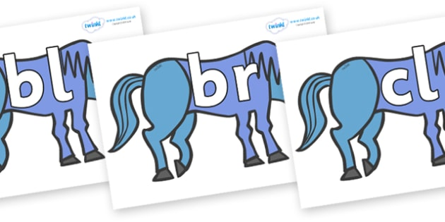 Initial Letter Blends on Blue Horse to Support Teaching on Brown Bear, Brown Bear - Initial Letters, initial letter, letter blend, letter blends, consonant, consonants, digraph, trigraph, literacy, alphabet, letters, foundation stage literacy