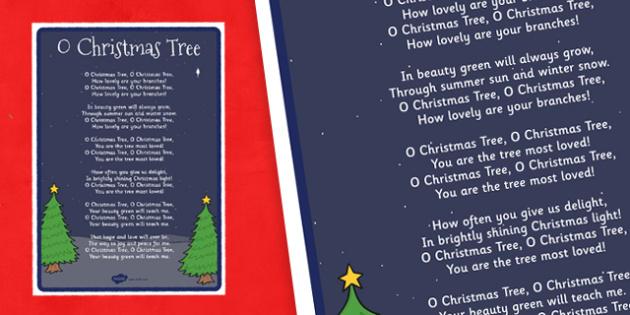 O Christmas Tree Lyrics Poster - o christmas tree, lyrics, poster, display, christmas