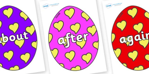 KS1 Keywords on Easter Eggs (Hearts) - KS1, CLL, Communication language and literacy, Display, Key words, high frequency words, foundation stage literacy, DfES Letters and Sounds, Letters and Sounds, spelling
