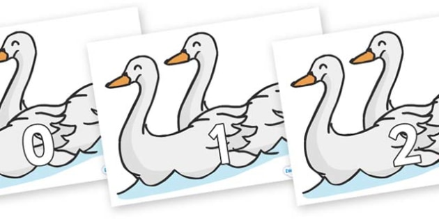 Numbers 0-50 on Swans - 0-50, foundation stage numeracy, Number recognition, Number flashcards, counting, number frieze, Display numbers, number posters