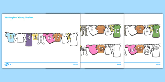 Washing Line Missing Number To 20 Worksheets - numbers, maths