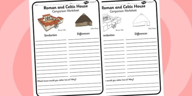 Roman and Celtic House Comparison Worksheet - roman, celtic, rome