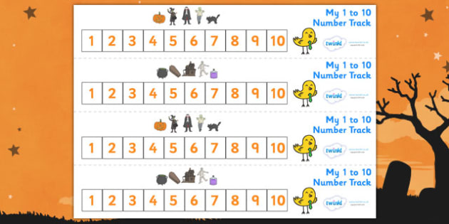 Number Track 1-10 (Halloween) - Number Track 0-10, Maths, Math, number track, 0, 10, numbertrack, Counting, Numberline, Number line, Counting on, Counting back, Halloween, pumpkin , witch, bat, scary, black cat, mummy, grave stone, cauldron, broomsti