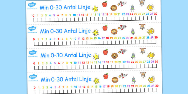 Swedish Number Line 0-30 - swedish, number line, 0-30, number