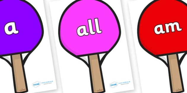Foundation Stage 2 Keywords on Table Tennis Bats - FS2, CLL, keywords, Communication language and literacy,  Display, Key words, high frequency words, foundation stage literacy, DfES Letters and Sounds, Letters and Sounds, spelling