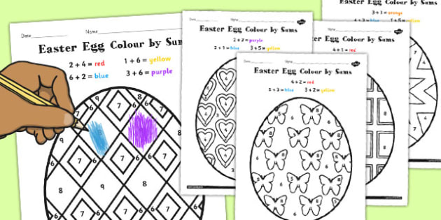 Easter Egg Colouring by Number Sums - easter, egg, colouring