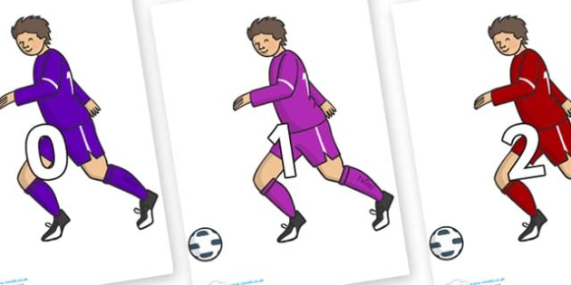Numbers 0-100 on Football Players - 0-100, foundation stage numeracy, Number recognition, Number flashcards, counting, number frieze, Display numbers, number posters