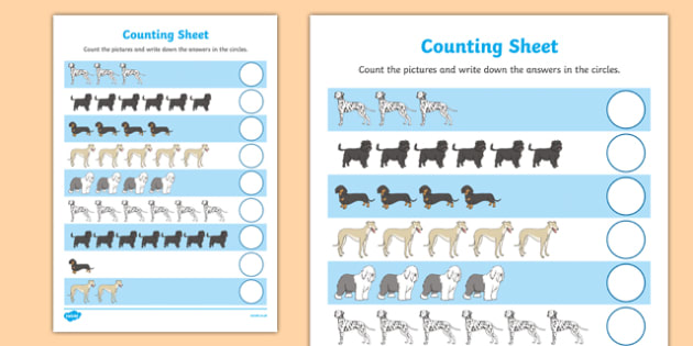 Dog Themed Counting Sheet - Dame Lynley Dodd, hairy maclary, dog, counting, count