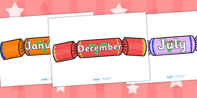 Months of the Year on Crackers - Christmas, xmas, cracker, Weeks poster, Months display, display, poster, frieze, Days of the week, tree, advent, nativity, santa, father christmas, Jesus, tree, stocking, present, activity, cracker, angel, snowman, ad