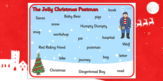Word Mat to Support Teaching on The Jolly Christmas Postman - the jolly christmas postman, word mat, the jolly postman themed word mat, themed word mat, christmas wordmat