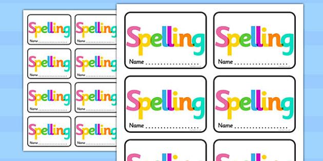 Spelling Book Labels - spelling, book, labels, spell, book labels