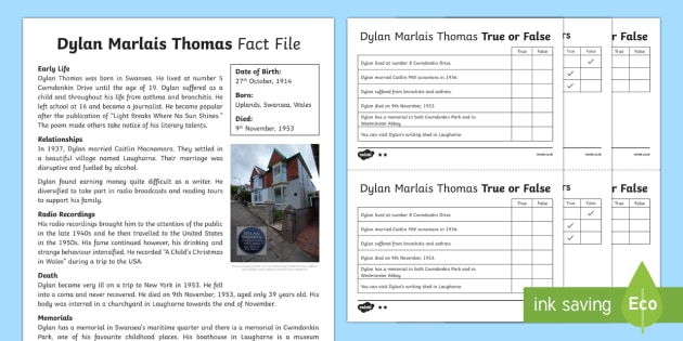 Dylan Thomas Differentiated True or False Fact File Activity Sheets-Welsh