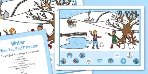 Winter Scene Can You Find Poster and Prompt Card Pack - winter scene, can, find, poster, prompt, card, pack