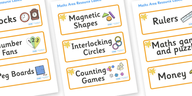 Amber Themed Editable Maths Area Resource Labels - Themed maths resource labels, maths area resources, Label template, Resource Label, Name Labels, Editable Labels, Drawer Labels, KS1 Labels, Foundation Labels, Foundation Stage Labels, Teaching Label