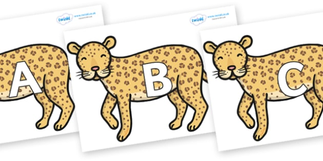 A-Z Alphabet on Leopards - A-Z, A4, display, Alphabet frieze, Display letters, Letter posters, A-Z letters, Alphabet flashcards