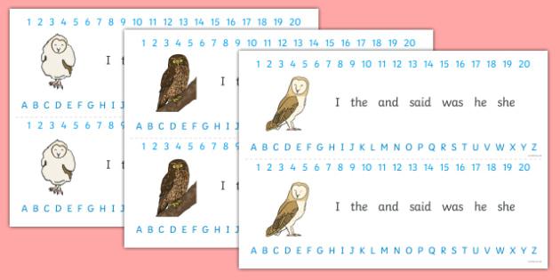 Owl Themed Alphabet Strips - nocturnal, birds, predator, wise, intelligent, ks1, display, letters, literacy, writing, border, visual aid