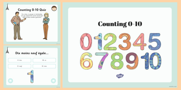 French Numbers 0-10 Quiz PowerPoint Presentation - french, quiz, numbers