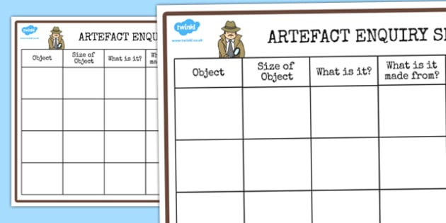 History Detective Artefact Recording Sheet - record, history