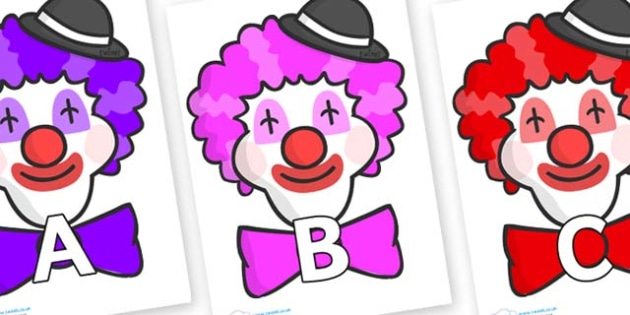 A-Z Alphabet on Clown Faces - A-Z, A4, display, Alphabet frieze, Display letters, Letter posters, A-Z letters, Alphabet flashcards