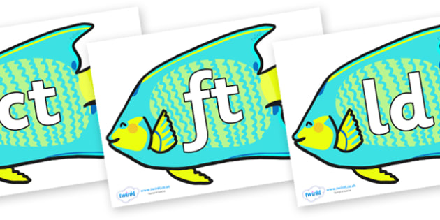 Final Letter Blends on Angel Fish - Final Letters, final letter, letter blend, letter blends, consonant, consonants, digraph, trigraph, literacy, alphabet, letters, foundation stage literacy