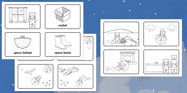 Story Sequencing (4 per A4) to Support Teaching on Whatever Next! - Whatever Next!, Jill Murphy,  resources, space, baby bear, Large family, rocket, moon, owl, story, story book, story book resources, story sequencing, story resources, sequencing