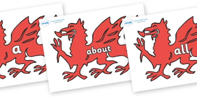 100 High Frequency Words on Welsh Dragons - High frequency words, hfw, DfES Letters and Sounds, Letters and Sounds, display words
