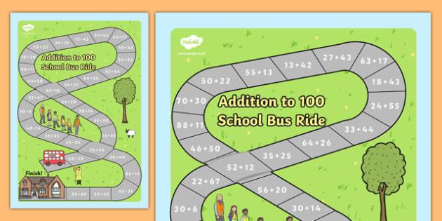 Addition to 100 Bus Board Game - add, adding, numeracy, maths