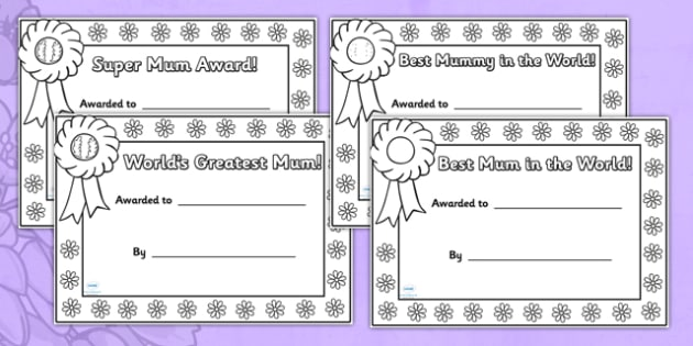 Mother's Day Certificates (Colouring) - Mother's day card, mother's day cards, mother's day activity, mother's day resource, card, card template, colouring, fine motor skills
