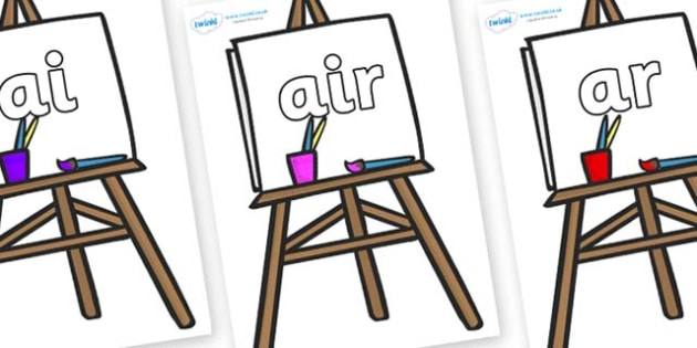 Phase 3 Phonemes on Easel - Phonemes, phoneme, Phase 3, Phase three, Foundation, Literacy, Letters and Sounds, DfES, display