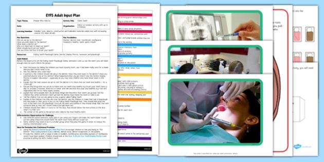 Clean Teeth EYFS Adult Input Plan and Resource Pack - people who help us, Dentist, dentist chair, toothbrush, toothpaste, tweezers, healthy, teeth gums, mouth