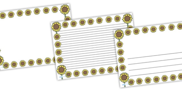 Sunflower Full Page Borders (Landscape) - page border, border, frame, writing frame, writing template, sunflower borders, sunflower, flowers, sunflower writing frame, flower page borders, writing aid, writing, A4 page, page edge, writing activities,