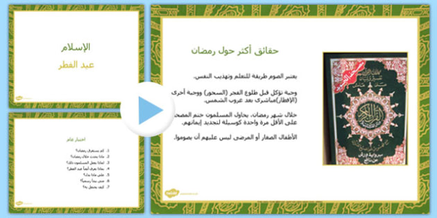 عرض بوربوينت عن عيد الفطر - عيد الفطر، وسائل تعليمية
