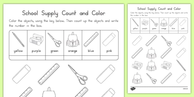 School Supplies Color and Count Activity Sheet, worksheet