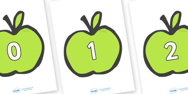 Numbers 0-31 on Apples - 0-31, foundation stage numeracy, Number recognition, Number flashcards, counting, number frieze, Display numbers, number posters