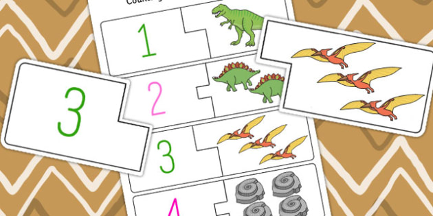 Dinosaur Themed Counting and Matching Puzzle - count, match, puzzles