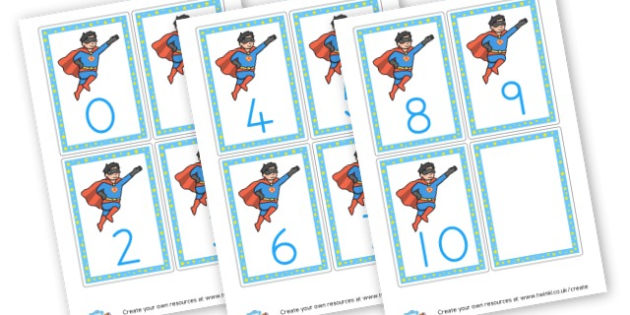 Superhero  Number Flashcards - Superheroes Numeracy Primary Resources,  Superheroes, Numeracy