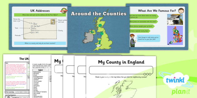 PlanIt - Geography Year 3 - The UK Lesson 3: Around the Counties Lesson Pack - geography, UK, county, counties, London